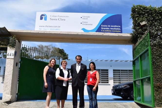 Gerente Educacional da ACF Ana Carlota, Diretora-Presidente da ACF Ir. Romana Rossetto, Cônsul Geral do Japão Sr. Yasushi Noguchi e Diretora da Unidade Marcela Mortari.